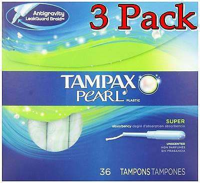 Tampax Pearl Plastic Unscented Tampons, Super, 36ct, 3 Pack 073010003705A640