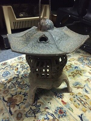 Vintage Cast Iron Garden Pagoda Hanging Japanese Lantern Candle Holder 2 Piece