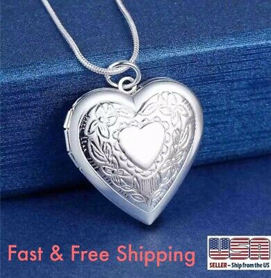 "Wholesale 925 Sterling Silver Heart Locket Photo Pendant Necklace 18"" Mother's"