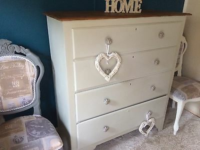 ANTIQUE EDWARDIAN CHEST OF 4 DRAWERS OAK PAINTED SHABBY CHIC.4ft High
