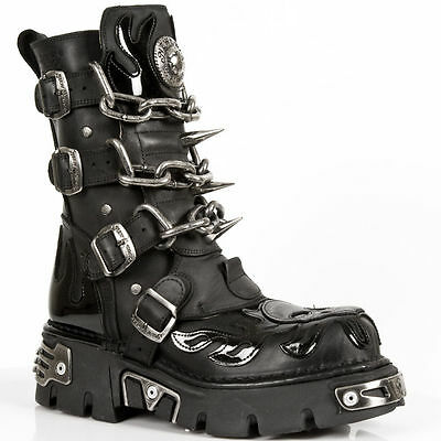 243865dbfb NEW ROCK M727- S1 With Patent Flames Skull Chains and Spikes SPECIAL STYLE  BOOTS