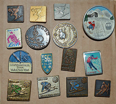 Ski Skiing Slovenia Race Resort School Yugoslavia Slovenia vtg pin badge lot