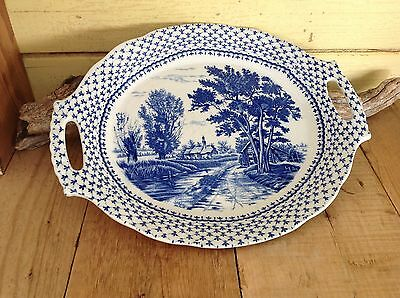 Large Vintage Transfer Ware Country Blue & White Handled Serving Platter Plate