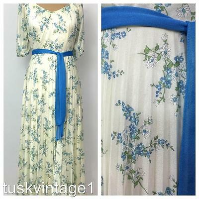 VINTAGE 70s IVORY white BLUE FLORAL puff sleeves PLEAT long MAXI DRESS gown  8