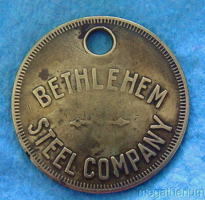Vintage Mining Or Tool Check Brass Tag: BETHLEHEM STEEL CO (Collectible Item)