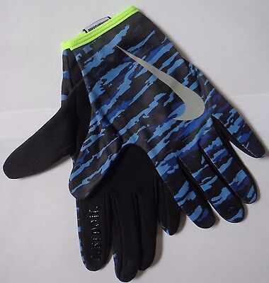 Nike Men's Printed Thermal Rally Run Gloves Game Royal/Volt Large New
