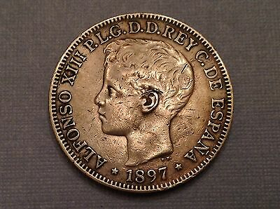 -1897 Philippines Spain Alfonso XIII One 1 Silver Peso