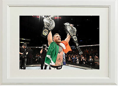 Conor McGregor A4 Poster 2 Belts World Featherweight & Lightweight Champion 2016