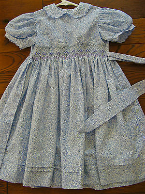 Vintage Smocked Toddler Girl's Dress Simi Brand 4T Blue Floral Perfect!