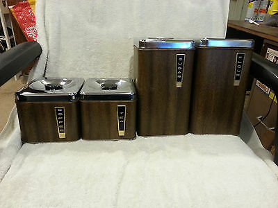 Vintage Lincoln Beauty Ware 4 Piece Mid Century Modern Kitchen Canister Set