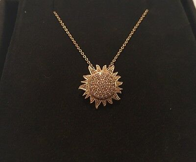 "Roberto Coin 18K Yellow Gold Diamond Sunflower Pendant Necklace 18"" Chain"