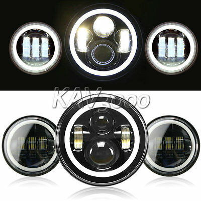 """7"""" LED Halo Projector Daymaker Headlight+ Halo Passing Light For Harley Touring"""
