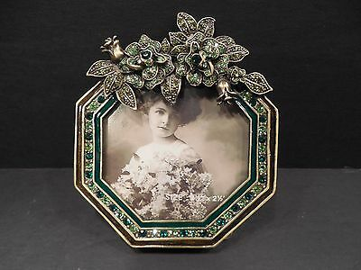Tizo Photo Picture Frame Square Jeweled Enameled Floral Crystals New in Box
