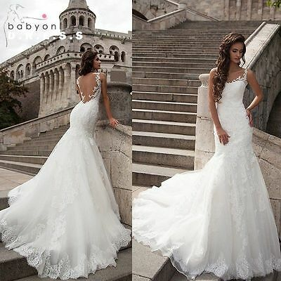 New Mermaid White/Ivory Wedding Dress Bridal Gown Custom size 6 8 10 12 14 16 18