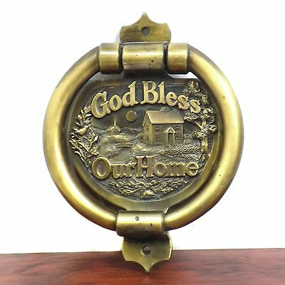 Vintage Solid Brass Door Knocker God Bless Our Home Cheerful Hearts 1.5LBS