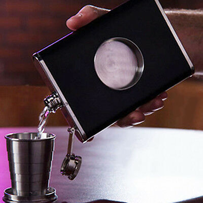 Black Flask Collapsible SHOT GLASS Stainless Steel Screw Cap Hip Pocket Funnel