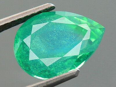 4.65ct Lab Created RARE Columbian Green EMERALD DOUBLET PEAR CUT 8.5 x 11.5 MM