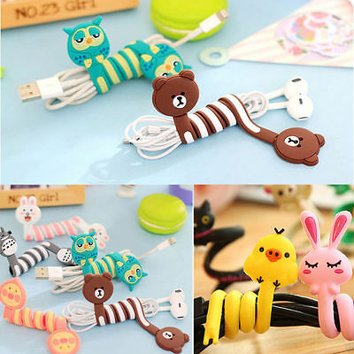 Cartoon Earphone Headphone Winder Cable Wire Strap Ties Cord Organizer Wire Wrap