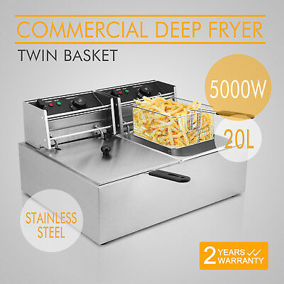 5000W 20L Commercial Deep Fryer Electric Double Basket Benchtop Stainless Steel