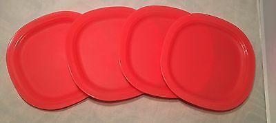 New Tupperware Legacy Dessert Plates Set of 4 in Red 7 3/4 Inches