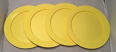 "Tupperware Stackable Dinner Plates In Yellow 9.5"" Snap Together Plates Set of 4"