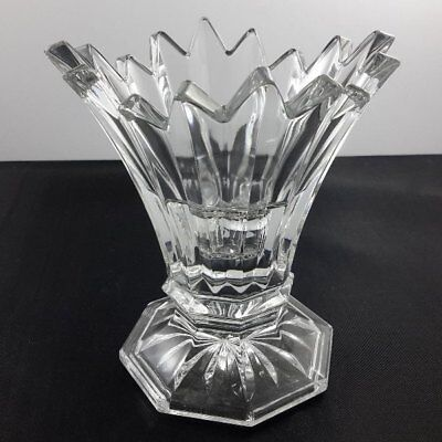 Vintage Art Deco Cut Glass Candlestick Candle Holder