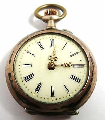 Antique Swiss Womens Necklace Watch 800 Silver Pin Set Pocket Watch
