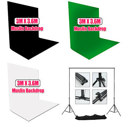 3x3.6M White Black Green Muslin Backdrop Studio Photo Cotton Support Stand Set