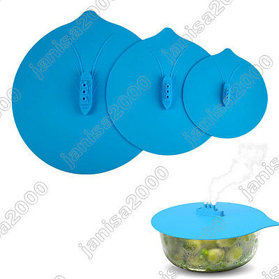 """Steam Ship Silicone Steamer Lid Pot Hot Cover Kitchen Blue 6""""~11"""" Three Sizes"""