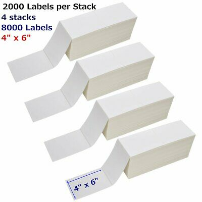 "8000 Fanfold 4"" x 6"" Direct Thermal Shipping Mailing Label - Zebra 2844 USPS UPS"