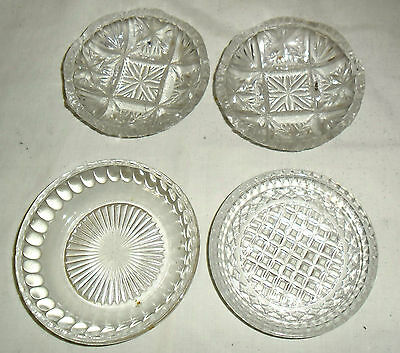 Vintage Pressed Glass Butter Or Jam Pat Dishes : 4 Ass.