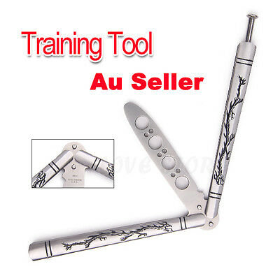 Folding Balisong Butterfly Knife Training Tool Metel Dull Blade Practice Trainer