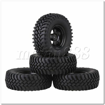 4pcs RC1:10 Rock Crawler Black Plastic 5 Spoke Wheel Rim Simulation Rubber Tyre