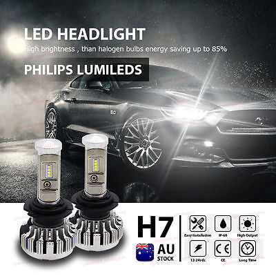 H7 180W Philips 28000LM White LED Headlight Lamp Kit Globes Bulb Canbus AU STOCK