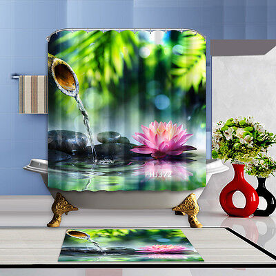 Lotus and water Bathroom Waterproof Polyester Shower Curtain & Flannel Bath Mat