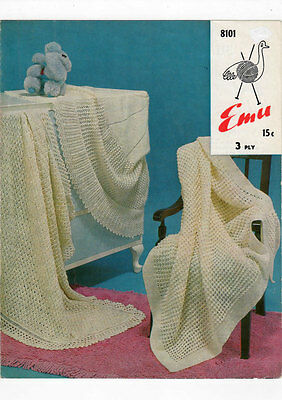 VINTAGE KNITTING PATTERN  COPY - TO KNIT SHAWLS  FOR BABY - 3ply