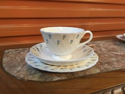 "Vintage English Royal Tuscan Handpainted ""Whitecliffe"" Tea Cup Trio"