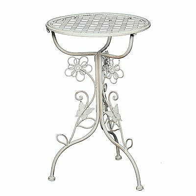 "SIDETABLE ""FLORA"" vintage floral little garden table iron white Ø 32cm"