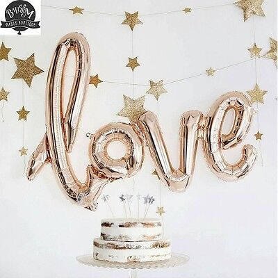 Set of 2 Love Script Balloon Rose Gold - Engagement / Bday Party - Free Postage!