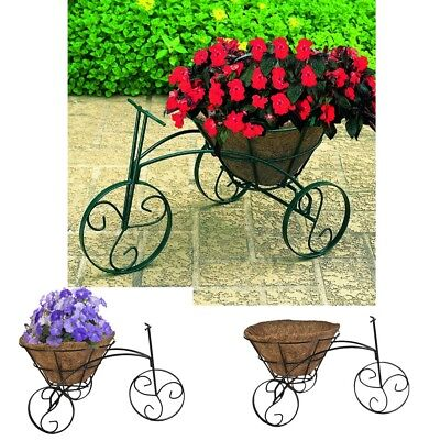Outdoor Metal Plant Stand Black Tricycle Garden Decorative Display Flowers Decor