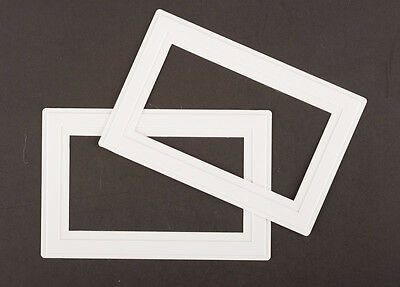 2x WHITE double SOCKET / LIGHT SWITCH finger plate SURROUND Wall Cover Protector