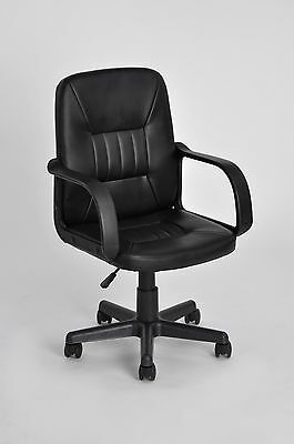 New Computer Business PU Leather Faced Swivel Executive Office Chair in Black