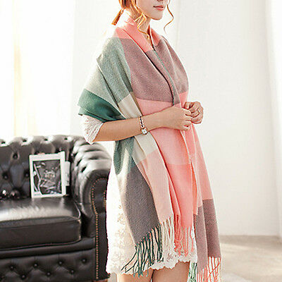 Fashion Women Cashmere Tartan Plaid Tassel Large Shawl Scarf Wrap Stole 60*200cm