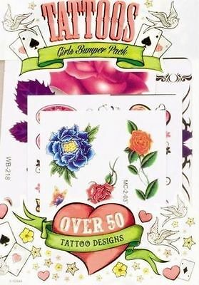 Girls Temporary Tattoos Bumper Selection Pack OVER 50 Designs Stick On Transfer