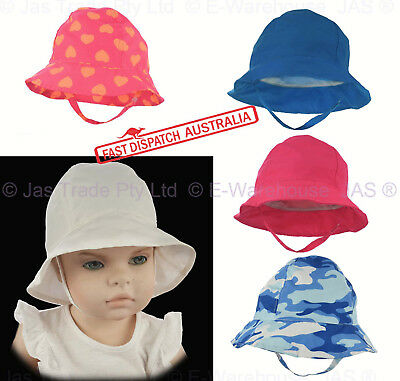 Girl Boy Toddler Baby Bell Beach Outdoor Reversible Bucket Sun Hat Chin Strap