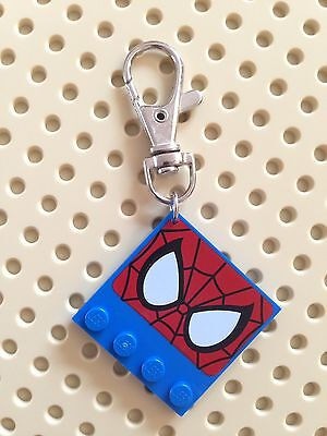 Bagcharm with Lego Spiderman Plate, Super Heroes, Handmade, Gift, Bag Charm Tag