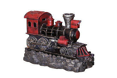 Small Red Steam Train Water Feature Fountain with LED Light