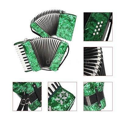 22-Key 8 Bass Piano Accordion with Straps Gloves Cleaning Cloth Green C6K7