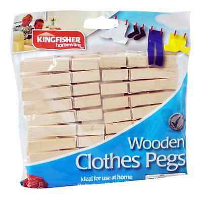 30Strong Wooden Clothes Pegs Laundry Bag Washing Line Peg Holder Airer Drying UK