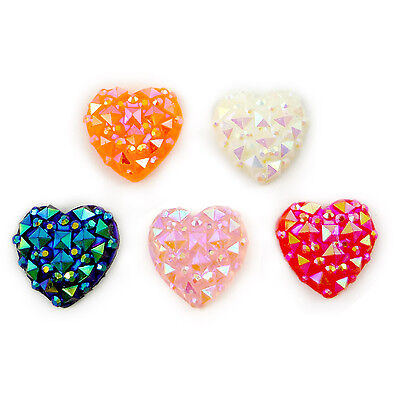 10pcs Mixed Hearts Resin Flatback Hair Accessories DIY Craft Decoration